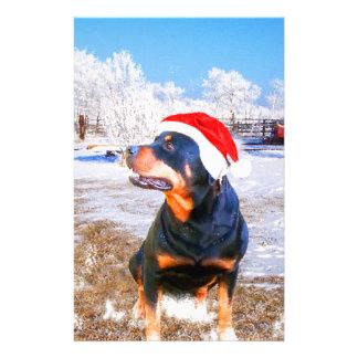 Rottweiler Dog Christmas Painting Custom Stationery