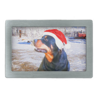 Rottweiler Dog Christmas Painting Rectangular Belt Buckle