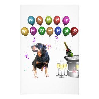 Rottweiler Dog Happy New Year Customized Stationery
