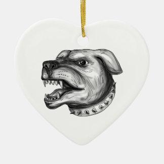 Rottweiler Dog Head Growling Tattoo Ceramic Heart Ornament