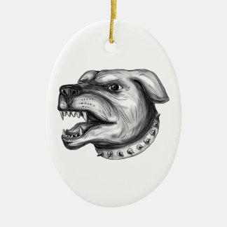 Rottweiler Dog Head Growling Tattoo Ceramic Oval Ornament