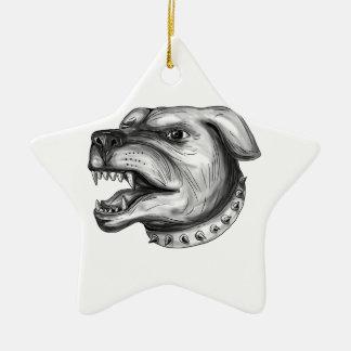 Rottweiler Dog Head Growling Tattoo Ceramic Star Ornament