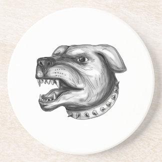 Rottweiler Dog Head Growling Tattoo Coaster