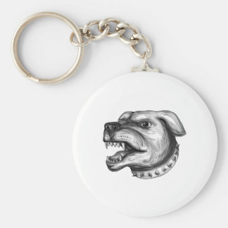 Rottweiler Dog Head Growling Tattoo Keychain