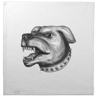 Rottweiler Dog Head Growling Tattoo Napkin