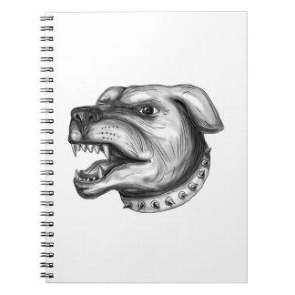 Rottweiler Dog Head Growling Tattoo Notebook