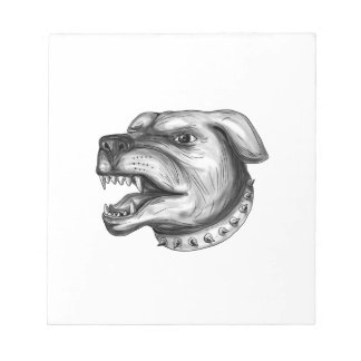 Rottweiler Dog Head Growling Tattoo Notepad