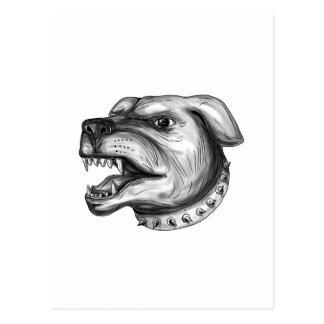 Rottweiler Dog Head Growling Tattoo Postcard