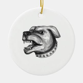 Rottweiler Dog Head Growling Tattoo Round Ceramic Ornament