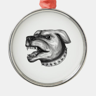 Rottweiler Dog Head Growling Tattoo Silver-Colored Round Ornament