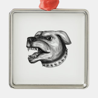 Rottweiler Dog Head Growling Tattoo Silver-Colored Square Ornament