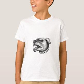 Rottweiler Dog Head Growling Tattoo T-Shirt