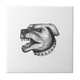 Rottweiler Dog Head Growling Tattoo Tile