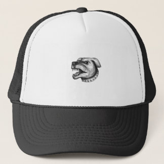 Rottweiler Dog Head Growling Tattoo Trucker Hat