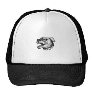Rottweiler Dog Head Growling Tattoo Trucker Hat