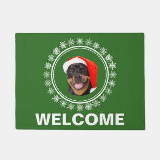 Rottweiler Dog Santa Snowflakes Christmas Welcome Doormat