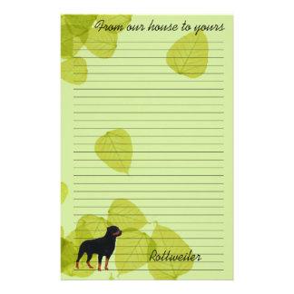 Rottweiler ~ Green Leaves Design Custom Stationery