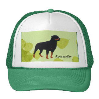 Rottweiler ~ Green Leaves Design Trucker Hat