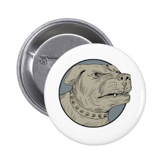 Rottweiler Guard Dog Head Aggressive Drawing 2 Inch Round Button
