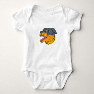 Rottweiler Guard Dog Head Aggressive Drawing Baby Bodysuit