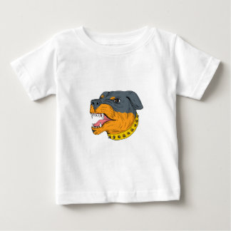 Rottweiler Guard Dog Head Aggressive Drawing Baby T-Shirt