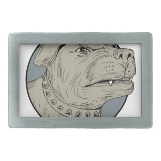 Rottweiler Guard Dog Head Aggressive Drawing Belt Buckles