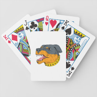 Rottweiler Guard Dog Head Aggressive Drawing Bicycle Playing Cards