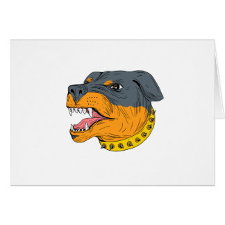 Rottweiler Guard Dog Head Aggressive Drawing Card