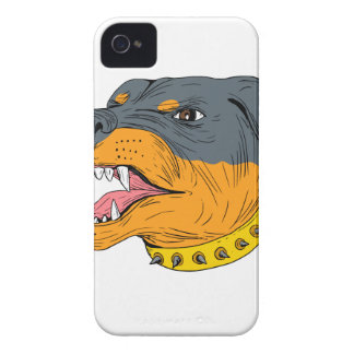 Rottweiler Guard Dog Head Aggressive Drawing Case-Mate iPhone 4 Case