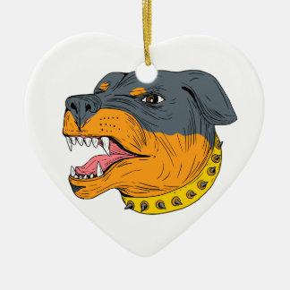 Rottweiler Guard Dog Head Aggressive Drawing Ceramic Heart Ornament