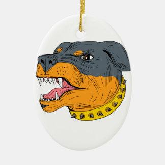 Rottweiler Guard Dog Head Aggressive Drawing Ceramic Oval Ornament