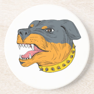 Rottweiler Guard Dog Head Aggressive Drawing Coaster