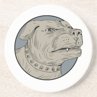 Rottweiler Guard Dog Head Aggressive Drawing Coaster