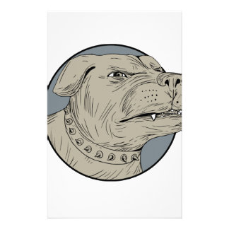 Rottweiler Guard Dog Head Aggressive Drawing Custom Stationery