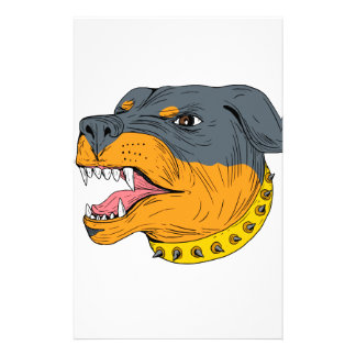 Rottweiler Guard Dog Head Aggressive Drawing Customized Stationery