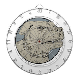 Rottweiler Guard Dog Head Aggressive Drawing Dartboard