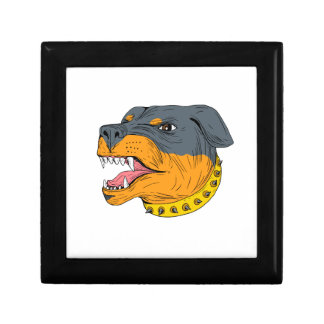Rottweiler Guard Dog Head Aggressive Drawing Gift Box