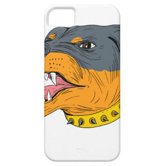 Rottweiler Guard Dog Head Aggressive Drawing iPhone 5 Case