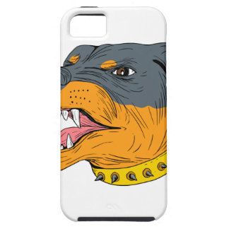 Rottweiler Guard Dog Head Aggressive Drawing iPhone 5 Covers