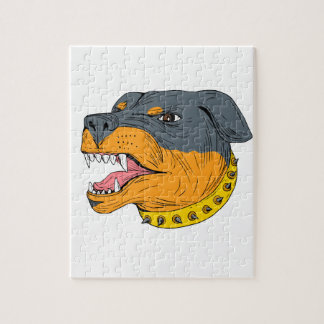 Rottweiler Guard Dog Head Aggressive Drawing Jigsaw Puzzle