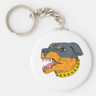 Rottweiler Guard Dog Head Aggressive Drawing Keychain