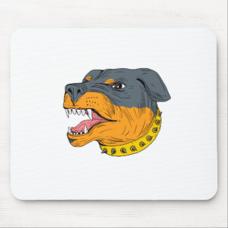 Rottweiler Guard Dog Head Aggressive Drawing Mouse Pad