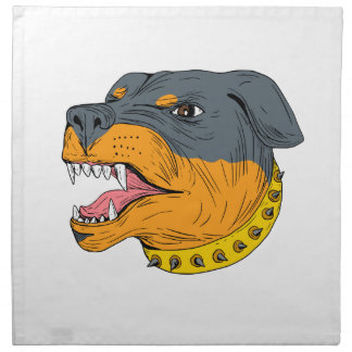 Rottweiler Guard Dog Head Aggressive Drawing Napkin