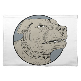 Rottweiler Guard Dog Head Aggressive Drawing Placemat