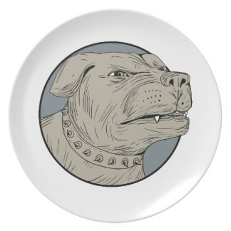Rottweiler Guard Dog Head Aggressive Drawing Plate