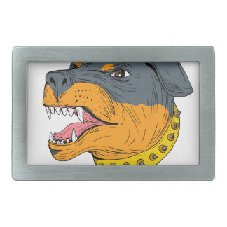 Rottweiler Guard Dog Head Aggressive Drawing Rectangular Belt Buckle