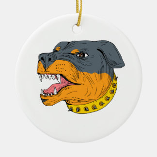 Rottweiler Guard Dog Head Aggressive Drawing Round Ceramic Ornament