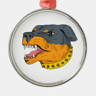 Rottweiler Guard Dog Head Aggressive Drawing Silver-Colored Round Ornament