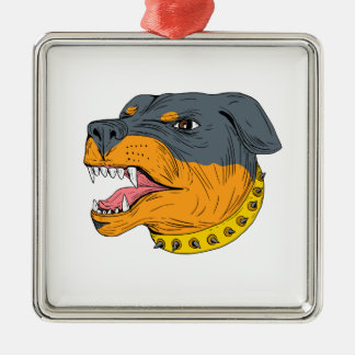 Rottweiler Guard Dog Head Aggressive Drawing Silver-Colored Square Ornament