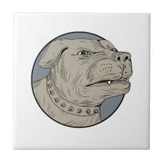 Rottweiler Guard Dog Head Aggressive Drawing Tile